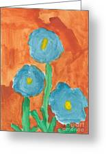 Kid Watercolor Drawing - Three Flowers Greeting Card