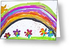 Kid's Drawing With Flowers And Colorful Rainbow Greeting Card