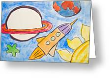 Kid's Painting Of Universe With Planets And Stars Greeting Card