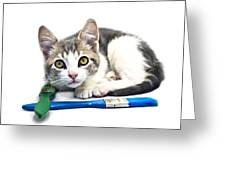 Kitten With Paint Brushes Greeting Card
