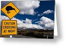 Kiwi Crossing Road Sign And Volcano Ruapehu Nz Greeting Card