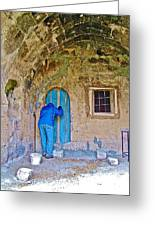 Knocking On A Blue Door Of Tufa Home In Goreme In Cappadocia-turkey  Greeting Card