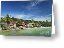Koh Rong Island Beach Bars In Cambodia Greeting Card