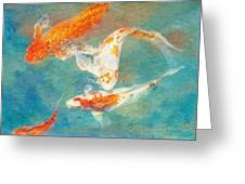 Koi Greeting Card by Robert Jensen