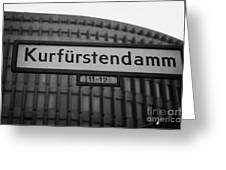 Kurfurstendamm Street Sign Berlin Germany Greeting Card