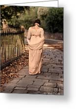 Lady In Regency Dress Walking Greeting Card