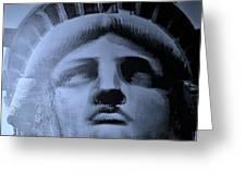 Lady Liberty In Cyan Greeting Card