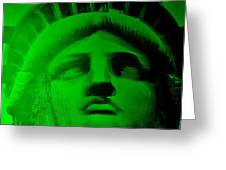 Lady Liberty In Green Greeting Card