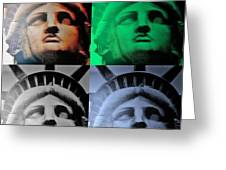 Lady Liberty In Quad Colors Greeting Card