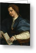 Lady With A Book Of Petrarch's Rhyme Greeting Card