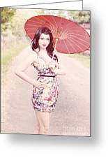 Lady With Red Parasol Greeting Card