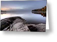 Lake In Autumn Sunrise Reflection Greeting Card