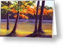 Lake Trees Greeting Card by MaryAnn Stafford