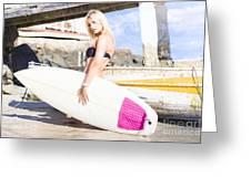Landscape Surfing Portrait Greeting Card