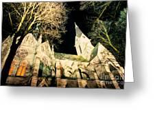 Large Stone Church At Night Greeting Card