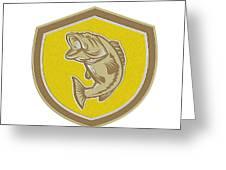 Largemouth Bass Jumping Shield Retro Greeting Card