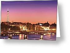Left Bank At Night / Paris Greeting Card by Barry O Carroll