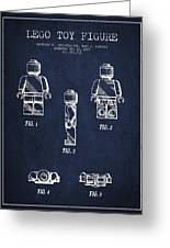 Lego Toy Figure Patent - Navy Blue Greeting Card by Aged Pixel