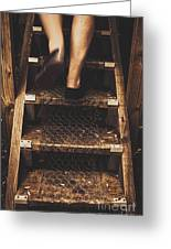 Legs Of A Bushwalking Man Climbing Wooden Stairs Greeting Card