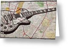 Les Paul On Austin Map Greeting Card