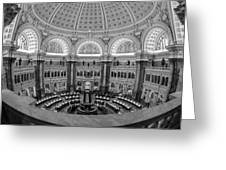 Library Of Congress Main Reading Room Greeting Card by Susan Candelario