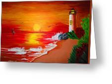 Lighthouse Greeting Card by Haleema Nuredeen