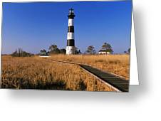 Lighthouse In A Field, Bodie Island Greeting Card