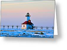 Lighthouse On Ice Greeting Card