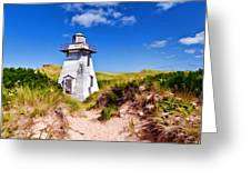 Lighthouse On The Dunes Greeting Card