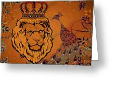 Lion And The Peacock Greeting Card
