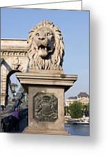 Lion Sculpture On Chain Bridge In Budapest Greeting Card