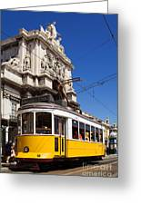 Lisbon's Typical Yellow Tram In Commerce Square Greeting Card
