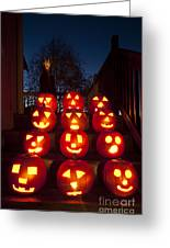 Lit Pumpkins With Demon On Halloween Greeting Card