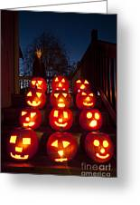 Lit Pumpkins With Demon On Halloween Greeting Card