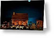 Log Cabin And Out House  Scene With Old Vintage Classic 1908 Model T Ford In Color Greeting Card by Leslie Crotty