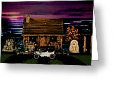 Log Cabin Scene At Sunset With The Old Vintage Classic 1913 Buick Model 25 Greeting Card