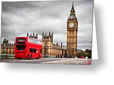London The Uk Red Bus In Motion And Big Ben Greeting Card