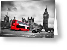 London Uk Red Bus In Motion And Big Ben Greeting Card