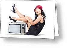 Lovely Asian Pinup Girl Posing On Vintage Tv Set Greeting Card