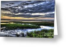 Cloud Reflections Over The Marsh Greeting Card