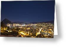 Lugano By Night Greeting Card