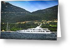 Luxury Yacht At The Coast Of French Riviera Greeting Card by Elena Elisseeva