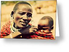 Maasai Baby Carried By His Mother In Tanzania Greeting Card