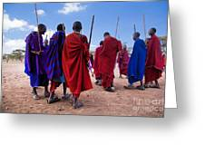 Maasai Men In Their Ritual Dance In Their Village In Tanzania Greeting Card