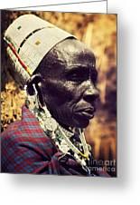 Maasai Old Woman Portrait In Tanzania Greeting Card
