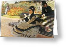 Madame Monet On A Garden Bench Greeting Card by Claude Monet