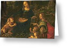 Madonna Of The Rocks Greeting Card by Leonardo da Vinci