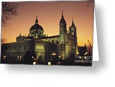 Madrid Cathedral Sunset Greeting Card