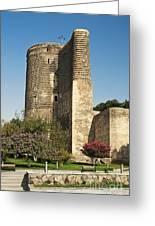 Maidens Tower In Baku Azerbaijan Greeting Card
