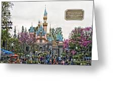Main Street Sleeping Beauty Castle Disneyland 01 Greeting Card